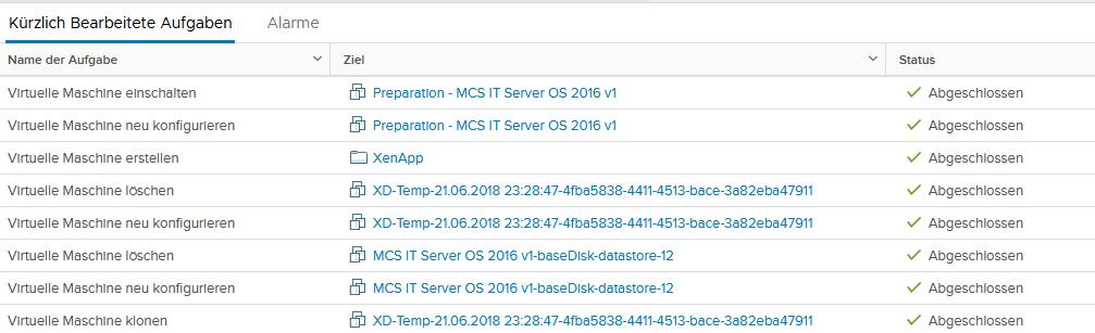 VMware Machine creation progress