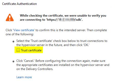 Trust the self-signed certificate